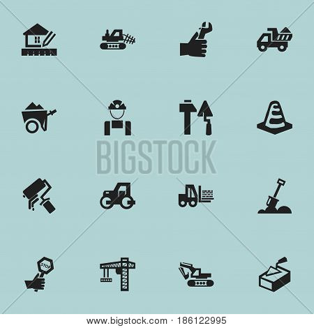 Set Of 16 Editable Construction Icons. Includes Symbols Such As Mule, Caterpillar, Notice Object And More. Can Be Used For Web, Mobile, UI And Infographic Design.