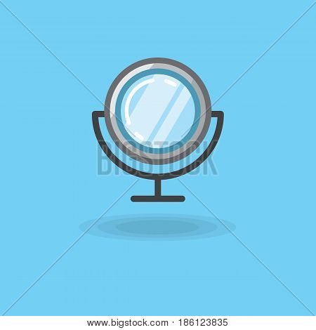 Vector icon of make up mirror isolated desktop on blue background. Illustration of makeup mirror