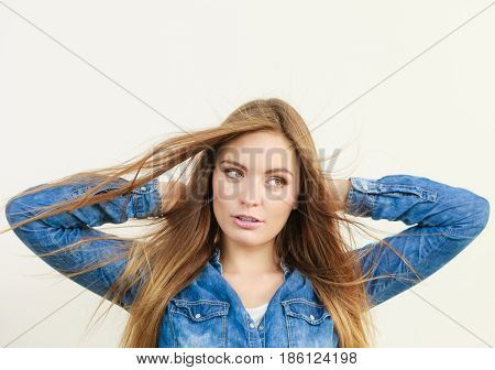 Fashionable Woman With Blowing Hair