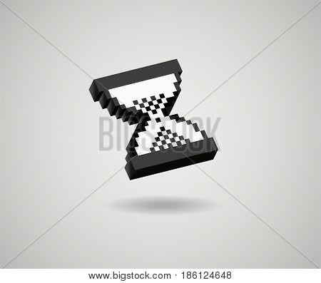 hourglass pixel 3d cursor icon sand glass vector glossy