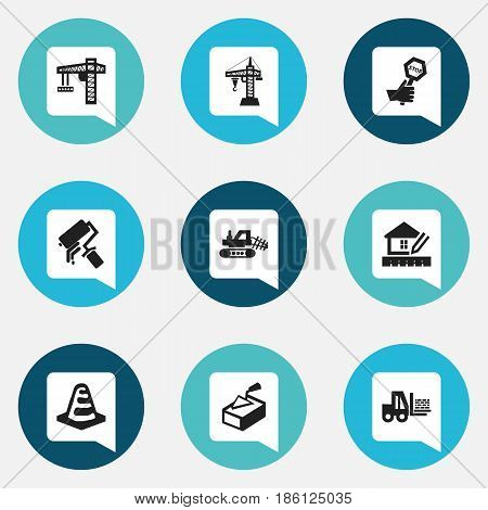 Set Of 9 Editable Building Icons. Includes Symbols Such As Notice Object, Spatula, Elevator And More. Can Be Used For Web, Mobile, UI And Infographic Design.
