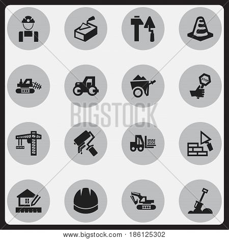 Set Of 16 Editable Construction Icons. Includes Symbols Such As Mule, Endurance, Hardhat And More. Can Be Used For Web, Mobile, UI And Infographic Design.
