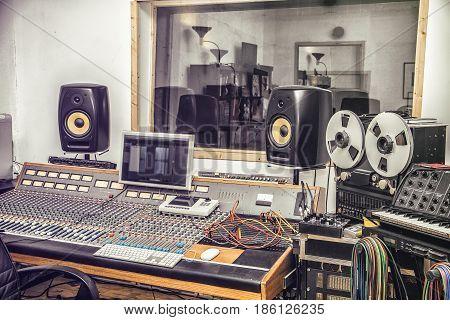 Interior of audio recording studio with equipment