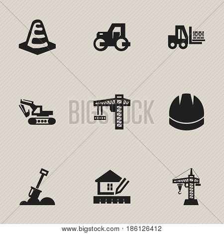 Set Of 9 Editable Construction Icons. Includes Symbols Such As Home Scheduling, Hardhat, Excavation Machine And More. Can Be Used For Web, Mobile, UI And Infographic Design.