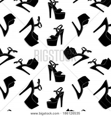 Pole dance stripper shoes. Vector exotic girls dancing platform heels pattern. Clubbing high heels for fitness, athlete, striptease dancers