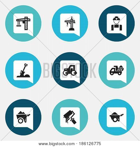 Set Of 9 Editable Building Icons. Includes Symbols Such As Lifting Equipment, Elevator, Camion And More. Can Be Used For Web, Mobile, UI And Infographic Design.