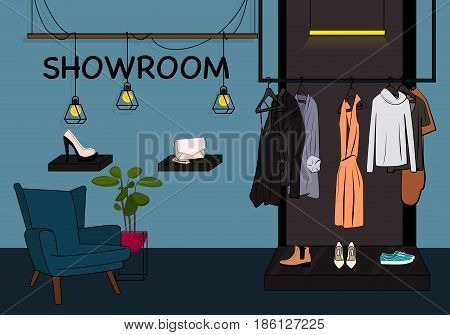 Vector clothes storefront illustration. Showroom closet with jacket, dress and t-shirt on hanger, shoes on showcase. Woman wardrobe room, Retail fashionable store