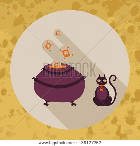 Halloween card. Witch pot and dark cat