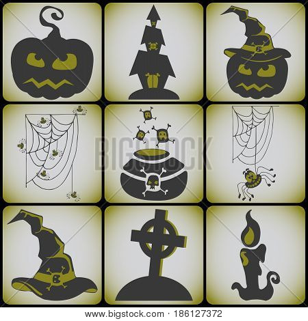 Set 9 card halloween symbols. Vector illustration for halloween party card