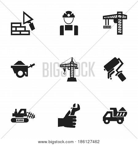 Set Of 9 Editable Structure Icons. Includes Symbols Such As Trolley, Scrub, Mule And More. Can Be Used For Web, Mobile, UI And Infographic Design.