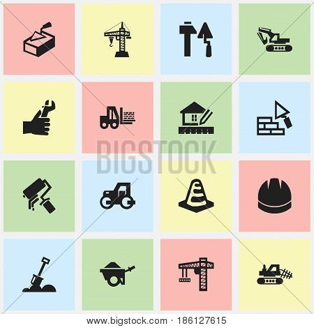 Set Of 16 Editable Structure Icons. Includes Symbols Such As Hardhat, Mule, Scrub And More. Can Be Used For Web, Mobile, UI And Infographic Design.