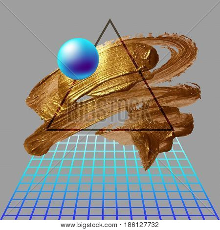 futuristic abstract background with a blue ball, checkered perspective and hand painted golden brush, vector illustration