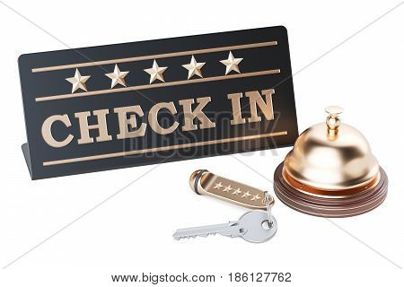 Check in concept hotel key and reception bell 3D rendering isolated on white background