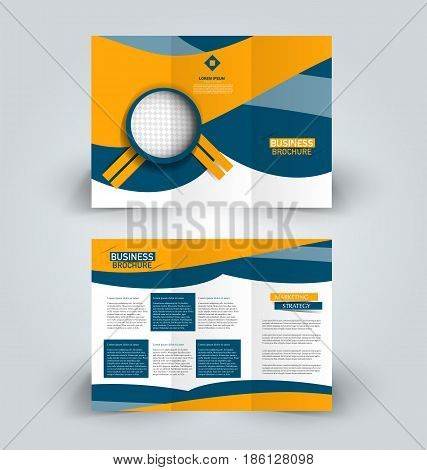 Brochure template. Business trifold flyer.  Creative design trend for professional corporate style. Vector illustration. Blue and orange color. poster