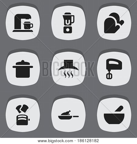 Set Of 9 Editable Food Icons. Includes Symbols Such As Kitchen Glove, Drink Maker, Kitchen Hood And More. Can Be Used For Web, Mobile, UI And Infographic Design.