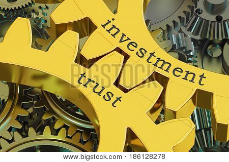 investment trust concept on the gearwheels 3D rendering