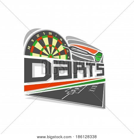 Vector logo for Darts game: thrown green arrow flying on trajectory in target dartboard, above black field for counting of points score, abstract art icon for dart board with inscription title text.