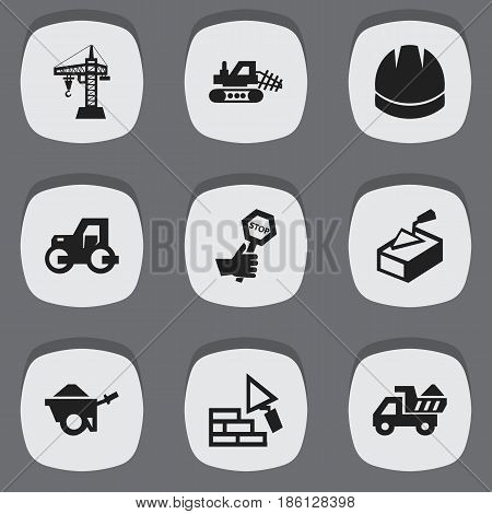 Set Of 9 Editable Building Icons. Includes Symbols Such As Endurance, Mule, Camion And More. Can Be Used For Web, Mobile, UI And Infographic Design.