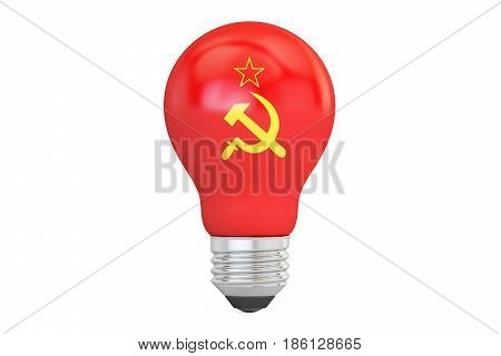 Light bulb with Soviet Union flag 3D rendering isolated on white background