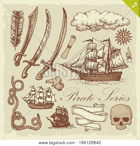 Vintage illustration of pirate related sketches. Layered vector set.