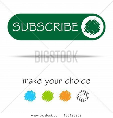 Subscribe sign icon. Membership symbol. Website navigation. Classic flat icon. Colored circles. Vector web buttons, elements for website design