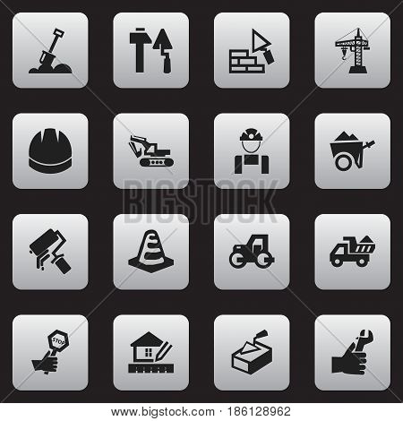 Set Of 16 Editable Structure Icons. Includes Symbols Such As Handcart , Camion , Excavation Machine. Can Be Used For Web, Mobile, UI And Infographic Design.