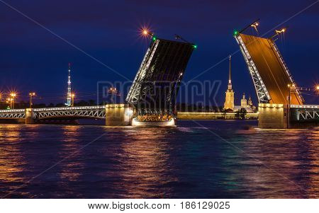 North Europe, Saint Petersburg, Russia. Night summer photo.
