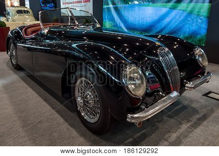 STUTTGART GERMANY - MARCH 02 2017: Sports car Jaguar XK120 SE OTS