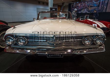 STUTTGART GERMANY - MARCH 02 2017: Full-size car Chevrolet Impala Convertible 1960. Europe's greatest classic car exhibition