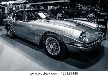 STUTTGART GERMANY - MARCH 02 2017: Grand tourer car Maserati Mistral 3700 (Tipo AM109) 1967. Stylization. Toning. Europe's greatest classic car exhibition