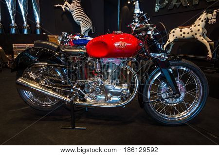 STUTTGART GERMANY - MARCH 02 2017: Motorcycle Gilera Saturno 1947. Europe's greatest classic car exhibition