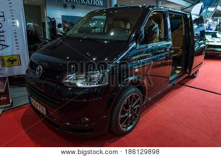 STUTTGART GERMANY - MARCH 02 2017: Minibus Volkswagen Multivan Business. Europe's greatest classic car exhibition