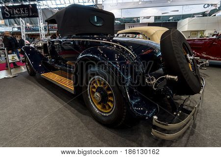 STUTTGART GERMANY - MARCH 02 2017: Luxury car Mercedes 630 Typ 24/100/140 PS Murphy 1924. Rear view. Europe's greatest classic car exhibition