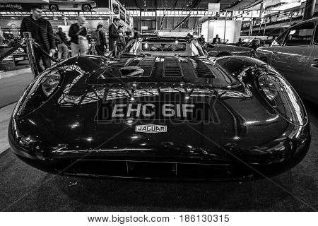 STUTTGART GERMANY - MARCH 02 2017: Replica of the race car Jaguar XJ13 of 1966 - Proteus 1993. Black and white. Europe's greatest classic car exhibition
