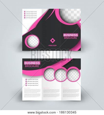 Brochure template. Business trifold flyer.  Creative design trend for professional corporate style. Vector illustration. Black and pink color.