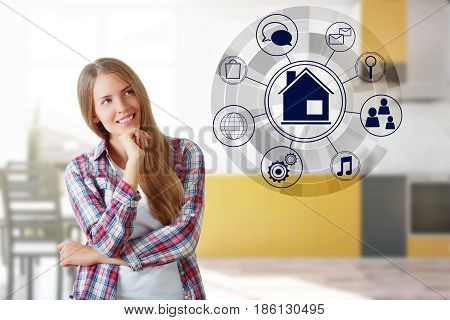 Smiling young woman standing in blurry kitchen interior with circular futuristic interface of smart home automation. 3D Rendering