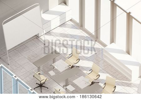 Top view of light meeting room with empty whiteboard stand workplace and sunlight Mock up 3D Rendering. Filtered image