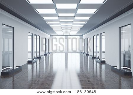 Front view of empty office hall with city view and daylight. Toned image. 3D Rendering