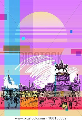 contemporary art poster with sketch hand drawing of Piazza Venezia in Rome - Altar of the Fatherland Italy, Vittorio Emanuele, Monument for Victor Emenuel II, famous cityscape, vector illustration