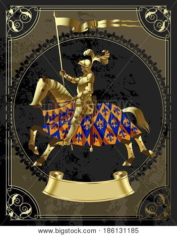 Vintage design template in decorative frame with a gold knight in the round