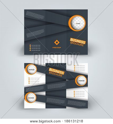 Brochure template. Business trifold flyer.  Creative design trend for professional corporate style. Vector illustration. Grey and orange color. poster