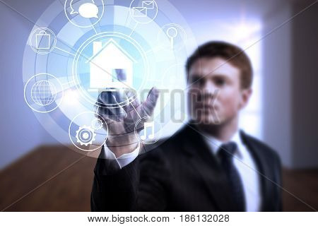 Businessman pointing at circular futuristic interface of smart home automation assistant on interior background. 3D Rendering