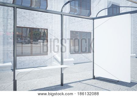 Side view of modern glass bus stop with empty whiteboard. Advertisement concept. Mock up 3D Rendering