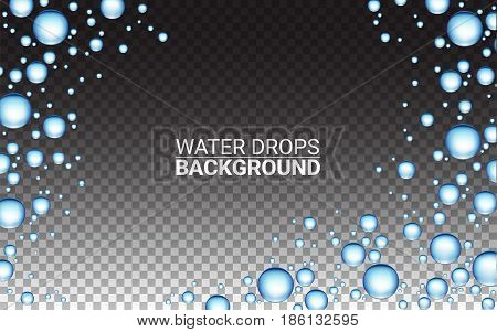 Realistic vector water drops. Effect Realistic Design Elements. Vector Illustration Modern transparent Background.