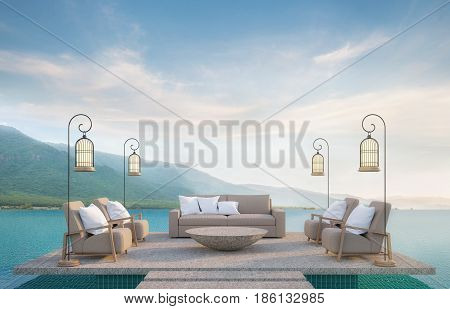 Outdoor living on swimming pool with mountain view 3d rendering image.There are border less swimming pool and surrounding with nature and mountains