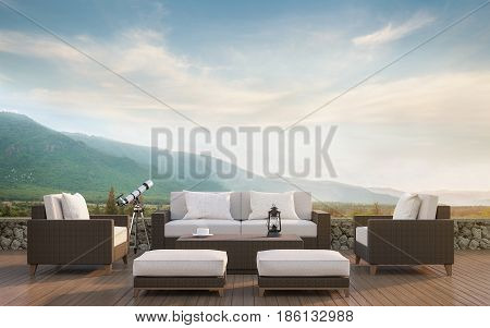 Outdoor living with mountain view 3d rendering image.Decorate with rattan furniture There are wooden floorstone wall and surrounding with nature and mountains
