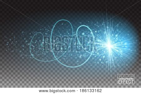 Blue light trace effect. Glowing spark swirl trail tracing. Blue neon bokeh glitter fire spiral wave line with flying sparkling flash lights. Vector Illustration Transparent Background.