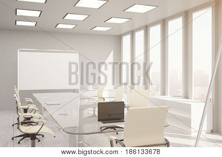 Front view of modern conference room with empty whiteboard and city view. Mock up 3D Rendering. Toned image
