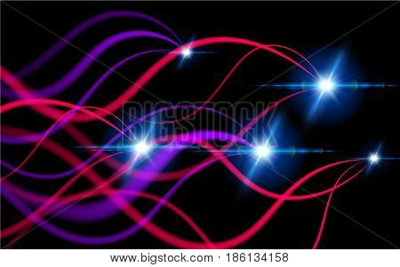 Light Trace Effect. Glitter Fire Spiral Wave line with Flying Sparkling Flash Lights Elements. Glowing Spark Swirl Trail Tracing. Vector Illustration Black Background.