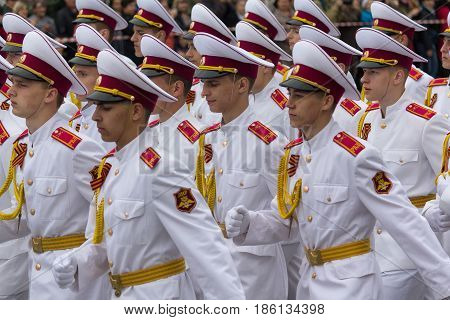 Donetsk Ukraine - May 09 2017: Cadets in white uniform on the parade in honor of the anniversary of victory in the Second World War